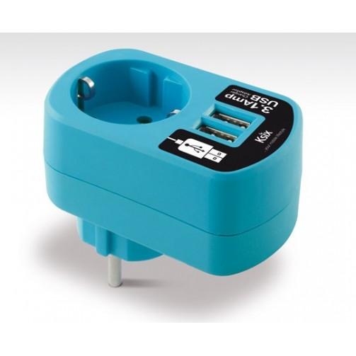 rosa Ksix BXCDAU01R Adaptador directo USB dual 3A con enchufe de red