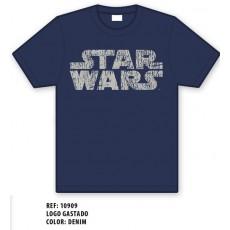 Camiseta star wars azul logo m